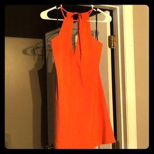 Super cute bright orange cut out dress